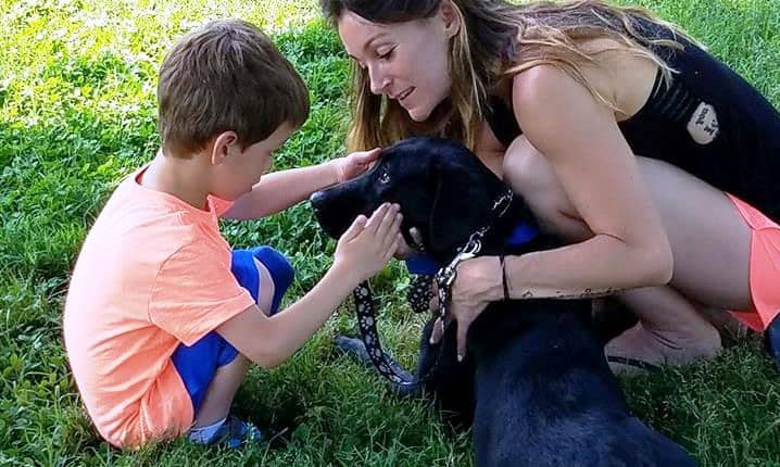 service dog with boy