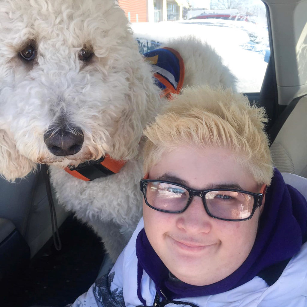 autism service dog with teenage handler