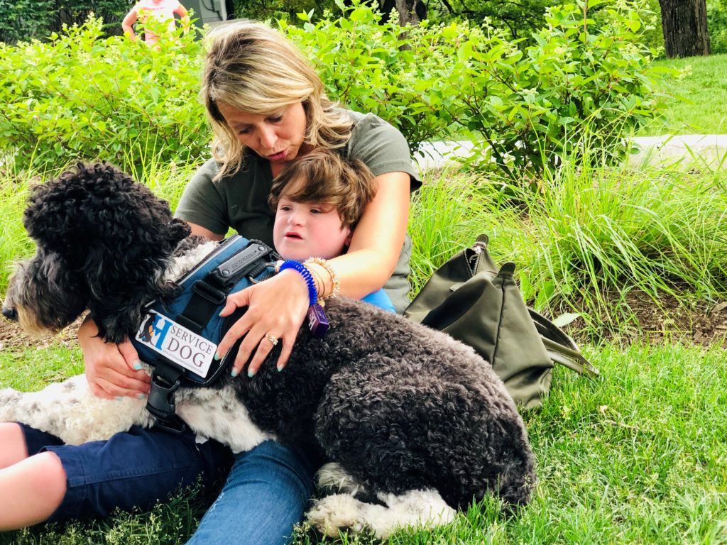 Autism Service Dog supplying deep pressure therapy during meltdown